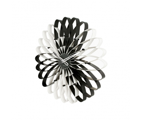 Spirals Clock, Black/White made by Present Time .