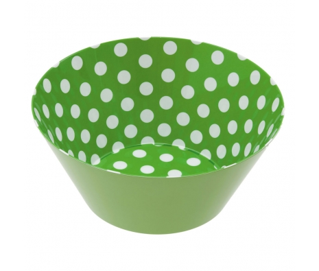 Green Melamine Polka Dot Bowl made by Summertime Entertaining .