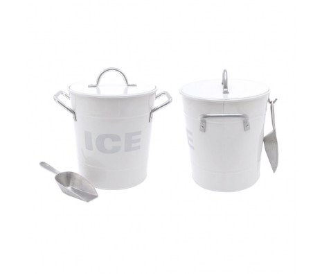White Ice Bucket with Tin Scoop made by Summertime Entertaining .