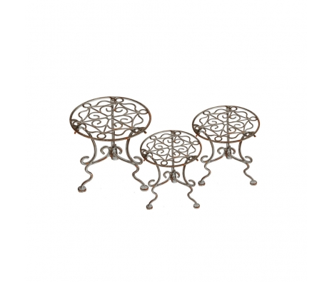 3-Piece Antique White Plant Stands made by Alfresco Bistro.
