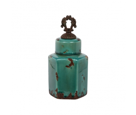 Algona Ceramic Lidded Jar, Small made by Outdoor Accents Under $75 .