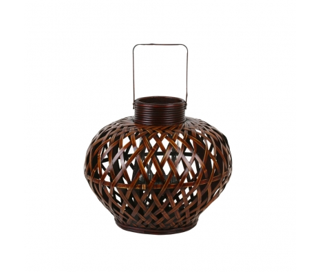 "15"" Bamboo Glass Lantern made by Alfresco Bistro."