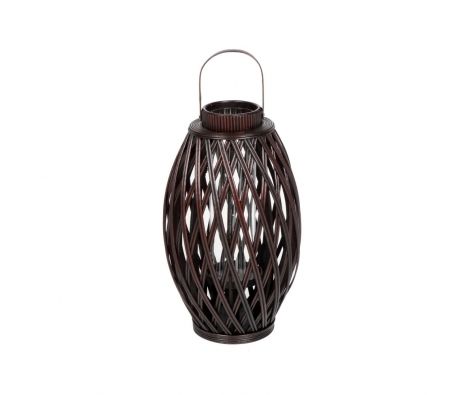 "25.5"" Bamboo Glass Lantern made by Alfresco Bistro."