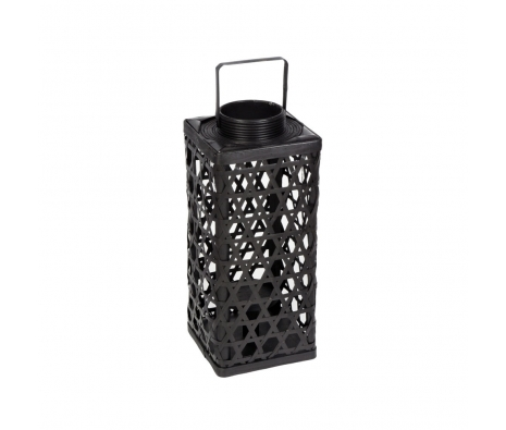 "22.5"" Bamboo Glass Lantern, Black made by Alfresco Bistro."