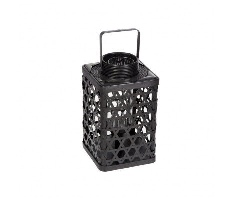 Orne Bamboo Glass Lantern, Black made by Alfresco Bistro.