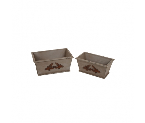 2-Piece Wooden Containers, Brown made by Alfresco Bistro.