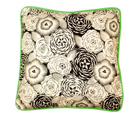 Floral And Lattice Pillow, Black And Ivory  made by Sarah Goldfarb Pillow Event .