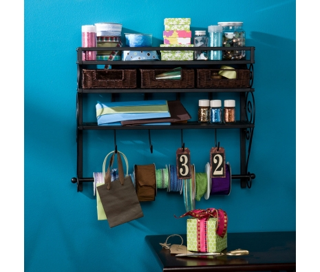 Warner Wall Mount Storage Rack W/ Baskets made by Modern Living.