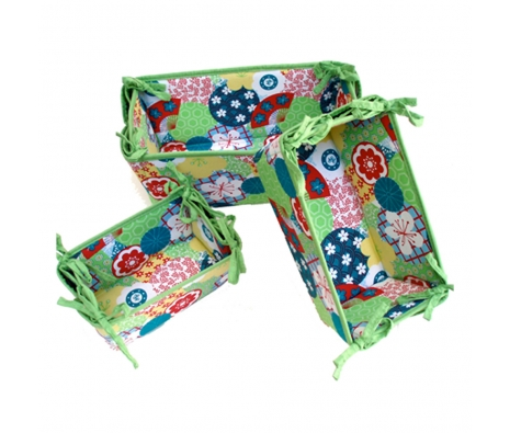 S/3 Storage Baskets, Green Blossom made by Patterned Travel Gear .