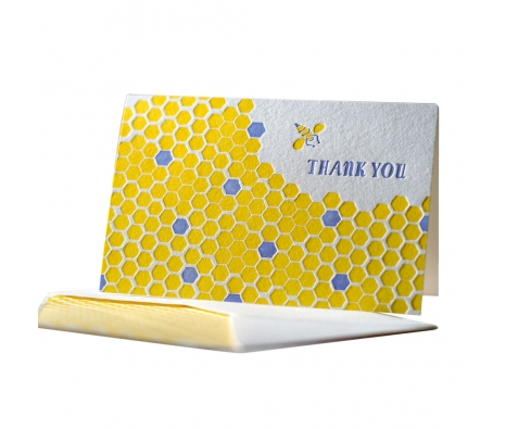 Pack of 6 Honeycomb Letterpressed Thank You Cards made by Smock Paper Stationary .