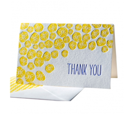 Pack of 6 Buzz Letterpressed Thank You Cards made by Smock Paper Stationary .