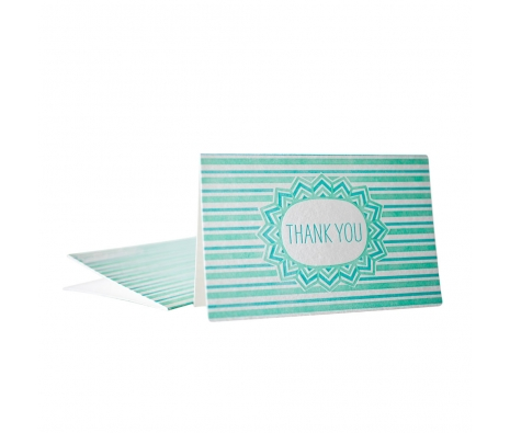 Pack of 6 Vert Letterpressed Thank You Cards made by Smock Paper Stationary .