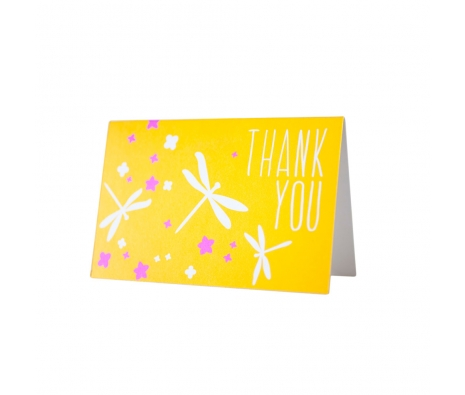 Pack of 8 Dragonfly Flat Printed Thank You Cards made by Smock Paper Stationary .
