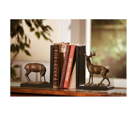 "9"" Deer Bookends made by Rustic Lodge."