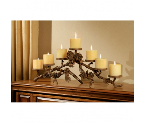 7-Candle Pine Cone Mantelpiece made by Rustic Lodge.
