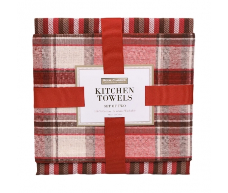 Red Plaid Kitchen Towel Set made by Toast the Host.