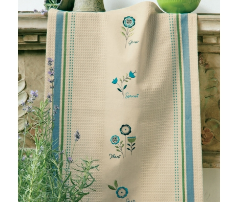 Embroidered Garden Weave Dishtowel made by Garden Party Hostess.