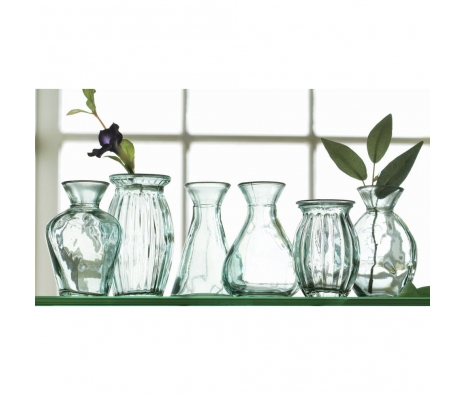 Recycled Green Glass Vases, Set of 6 made by Garden Party Hostess.