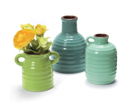 Colorful Bud Vases, Set of 3 made by Garden Party Hostess.