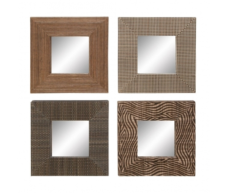 Set of 4 Square Mirrors made by Countryside Finds.