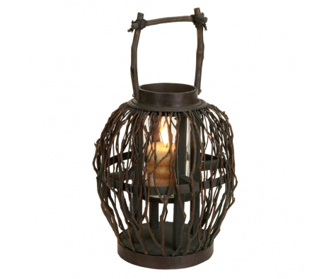 "17"" Bamboo & Twig Lantern made by Countryside Finds."