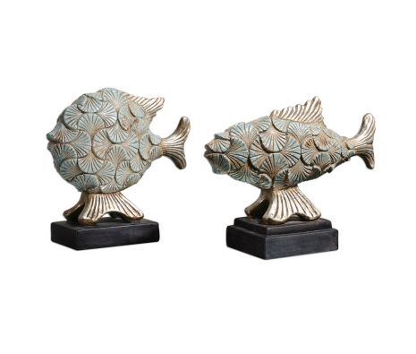 Deniz Fish Sculptures, Set of 2 made by Coastal Expressions.