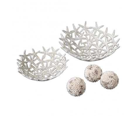 Starfish Bowls with Shell Spheres, Set of 5 made by Coastal Expressions.