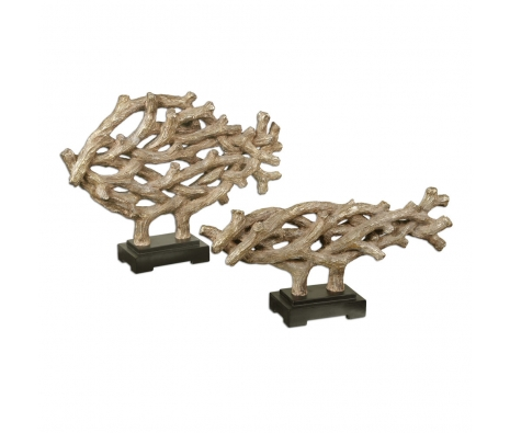 Woven Vines Fish Sculptures, Set of 2 made by Coastal Expressions.