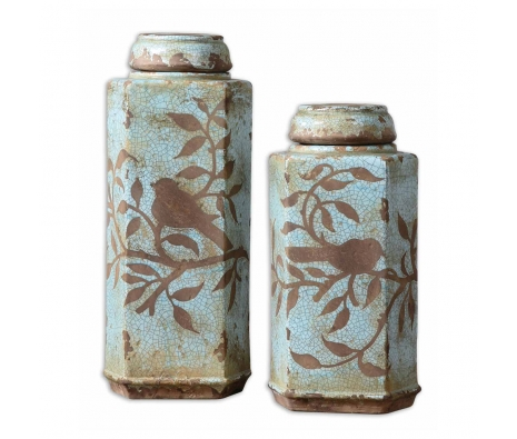 Freya Tall Jars, Set of 2 made by Provencal Home Decor .