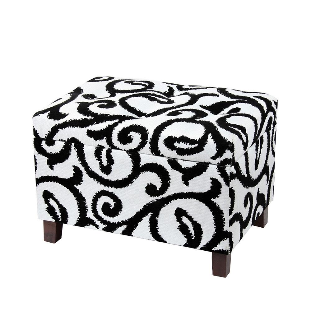 Black and white storage ottoman