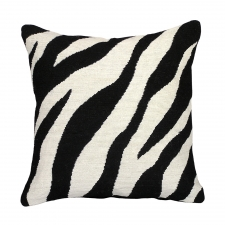 Black Zebra Needlepoint Pillow