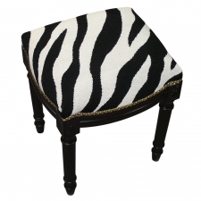 Black Zebra Needlepoint Stool