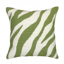 Green Zebra Needlepoint Pillow