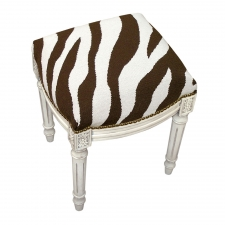 Brown Zebra Needlepoint Stool