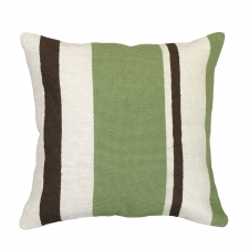Green Stripes Needlepoint Pillow
