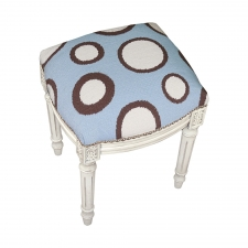 Blue Dots Needlepoint Stool