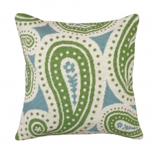 Green & Blue Paisley Needlepoint Pillow