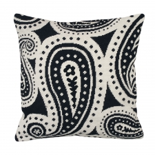Black & White Paisley Needlepoint Pillow