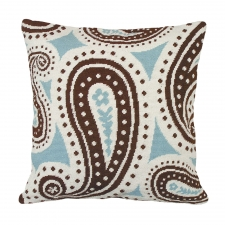 Blue & Brown Paisley Needlepoint Pillow