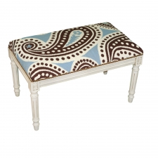 Blue & Brown Paisley Needlepoint Bench