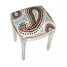 Blue & Brown Paisley Needlepoint Stool