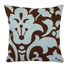 Blue & Brown Damask Needlepoint Pillow
