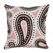 Pink & Brown Paisley Needlepoint Pillow