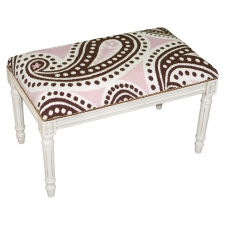 Pink & Brown Paisley Needlepoint Bench