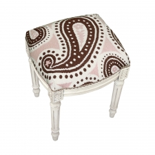 Pink & Brown Paisley Needlepoint Stool