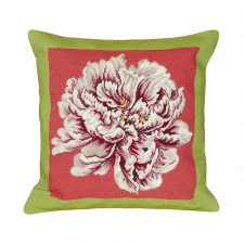 Green & Pink Peony Needlepoint Pillow