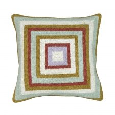 Green & Orange Squares Needlepoint Pillow