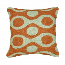 Orange & Green Circles Needlepoint Pillow