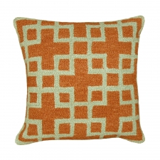 Orange & Green Hook Needlepoint Pillow
