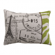 French Stamps Linen Pillow